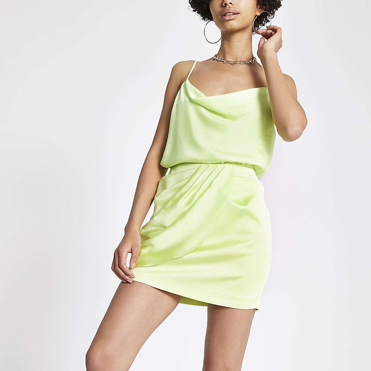 Lime wrap mini skirt