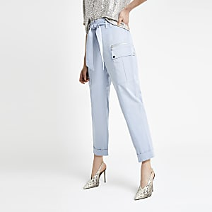 Blue utility peg trousers