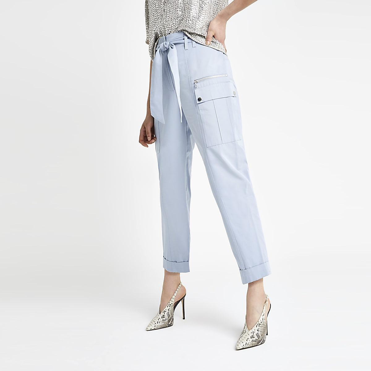 Blauwe utility smaltoelopende broek