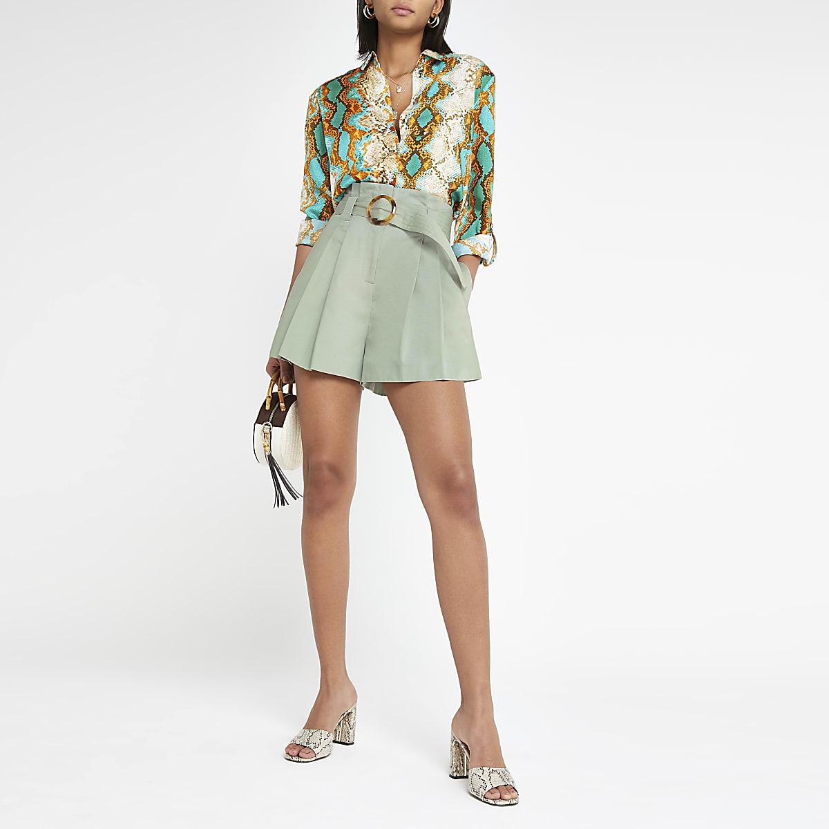 Light green belted shorts