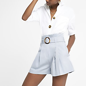 Light blue pleated utility shorts