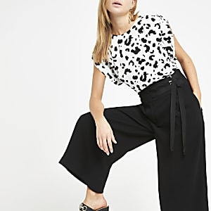 Black tie cropped wide leg trousers