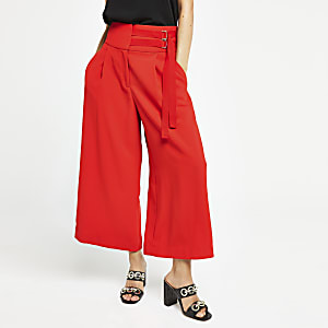 Red tie cropped wide leg pants