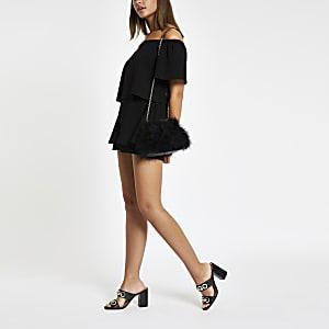 Combinaison jupe-short Bardot noire