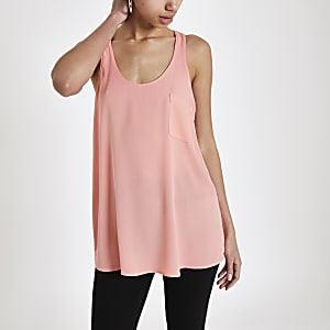 Pink chest pocket tank top
