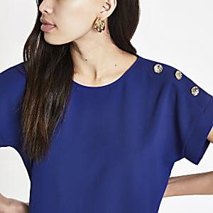 Marineblauw T-shirt met knopen op de schouder