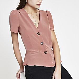 Roze top met korte mouwen