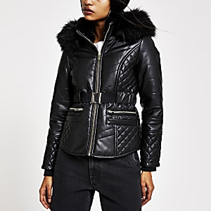 Petite black belted hooded puffer jacket