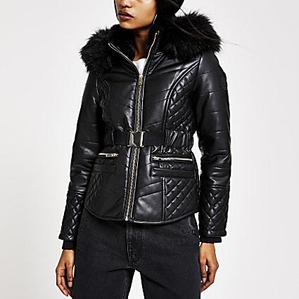 Petite black belted hooded puffer jacket