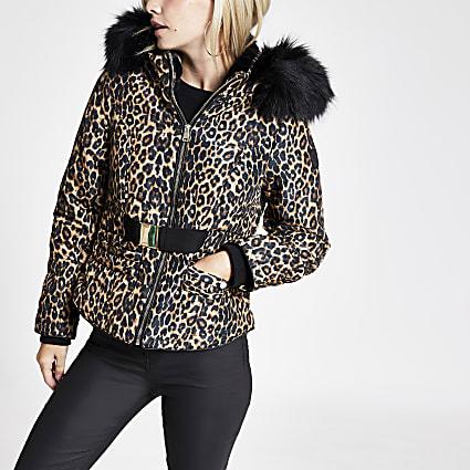 Petite brown leopard print belted puffer coat