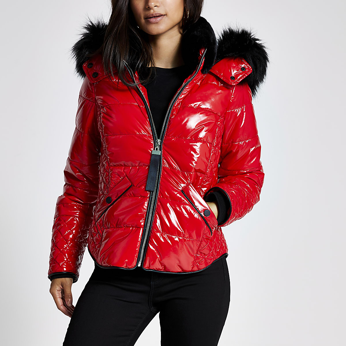 Petite red high shine padded bomber jacket
