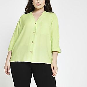 RI Plus - Limegroen overhemd met lange mouwen
