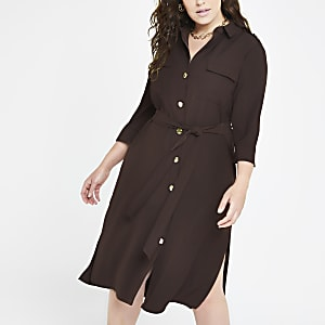 Plus brown tie waist shirt dress