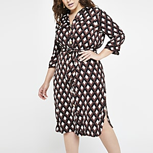 Plus brown print tie waist shirt dress