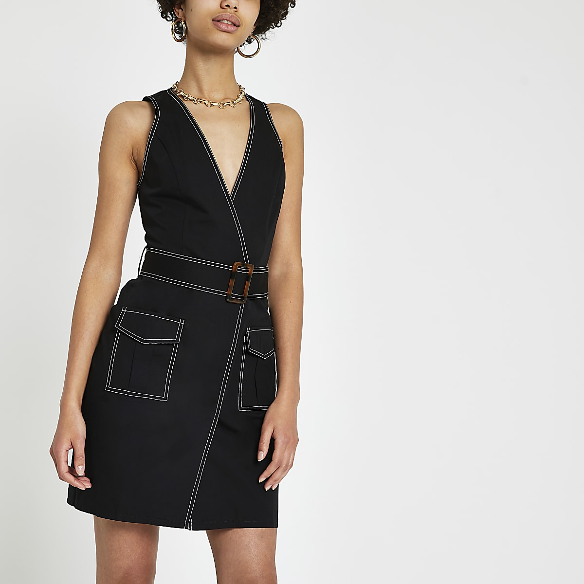 Black utility mini dress