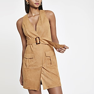 Light brown utility mini dress