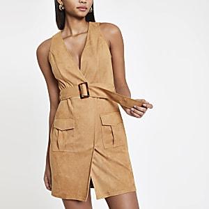 Lichtbruine utility mini-jurk