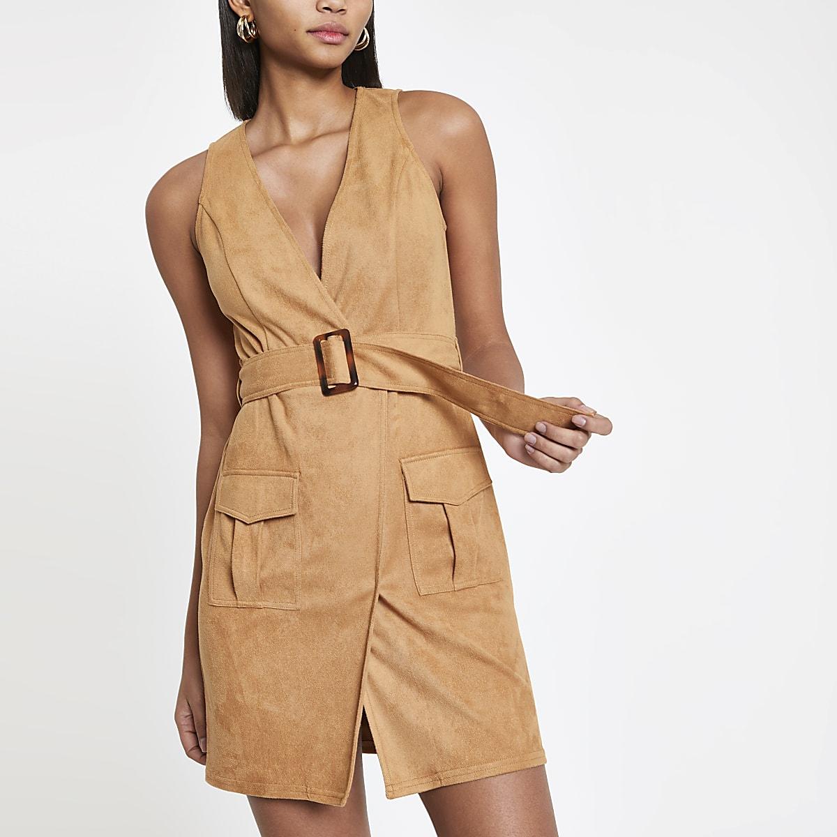 Light brown utility mini dress