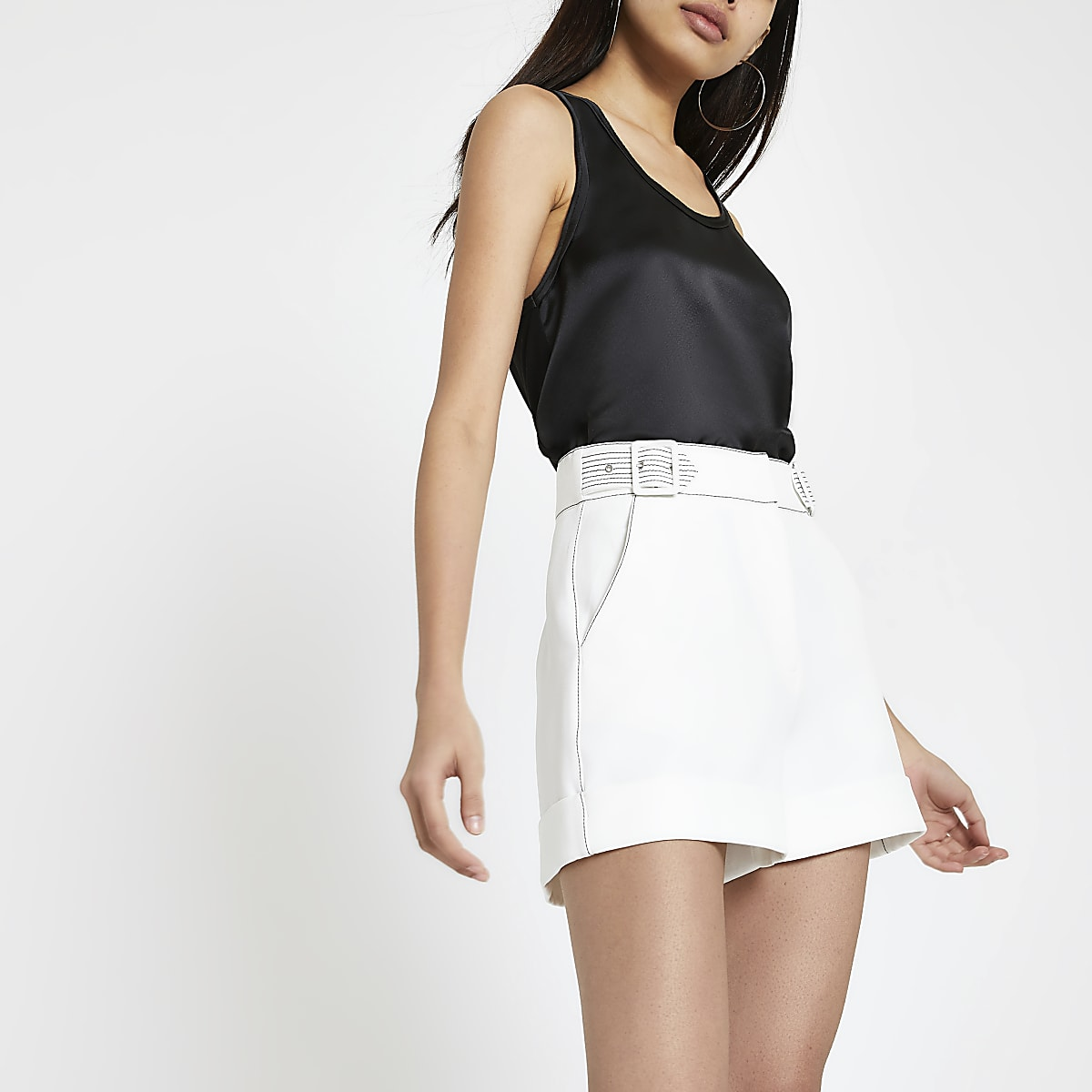 White contrast stitch shorts