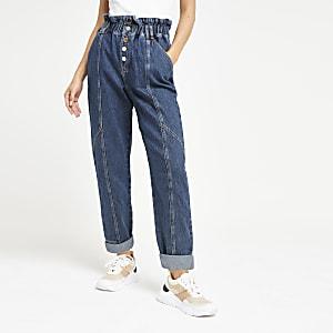 Paperbag-Jeans in Mittelblau