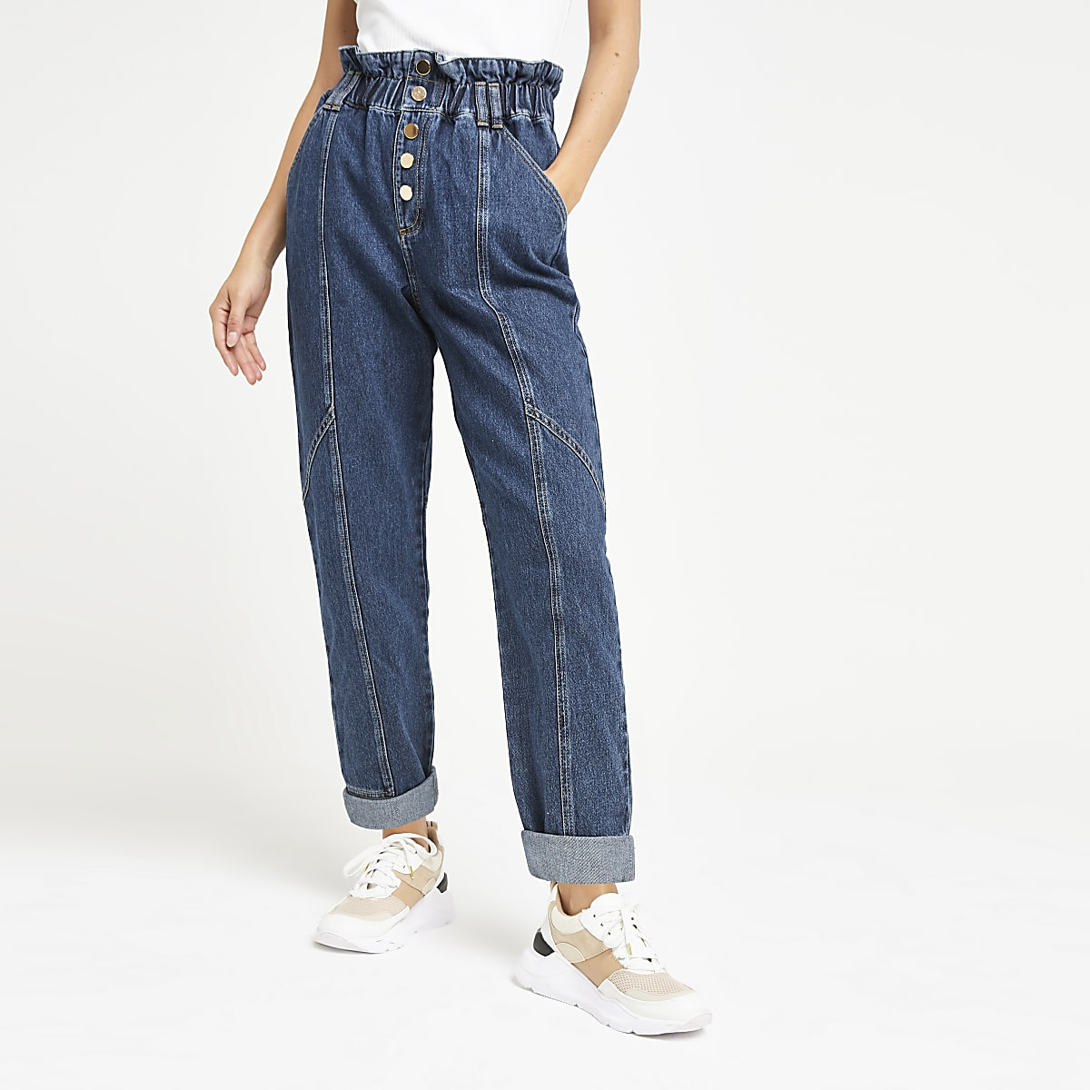 Mid blue paperbag denim jeans