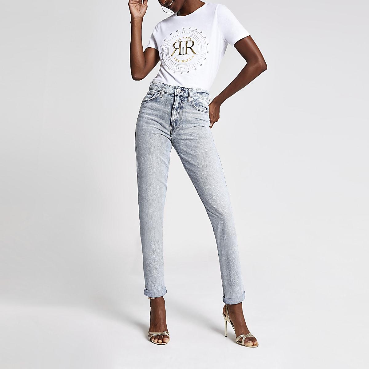 Lichtblauwe denim mom jeans