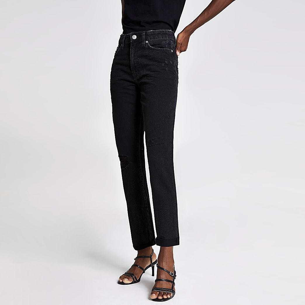 Black washed mom fit jeans
