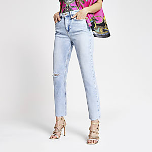 Hellblaue Straight Jeans