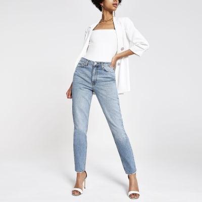 Mid blue long slim fit jeans