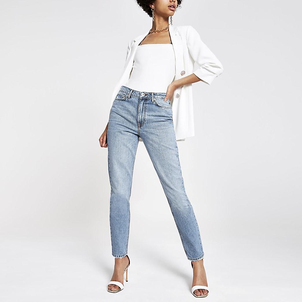 Middenblauwe lange slim-fit jeans