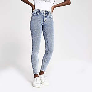 Mid blue acid wash Amelie super skinny jeans