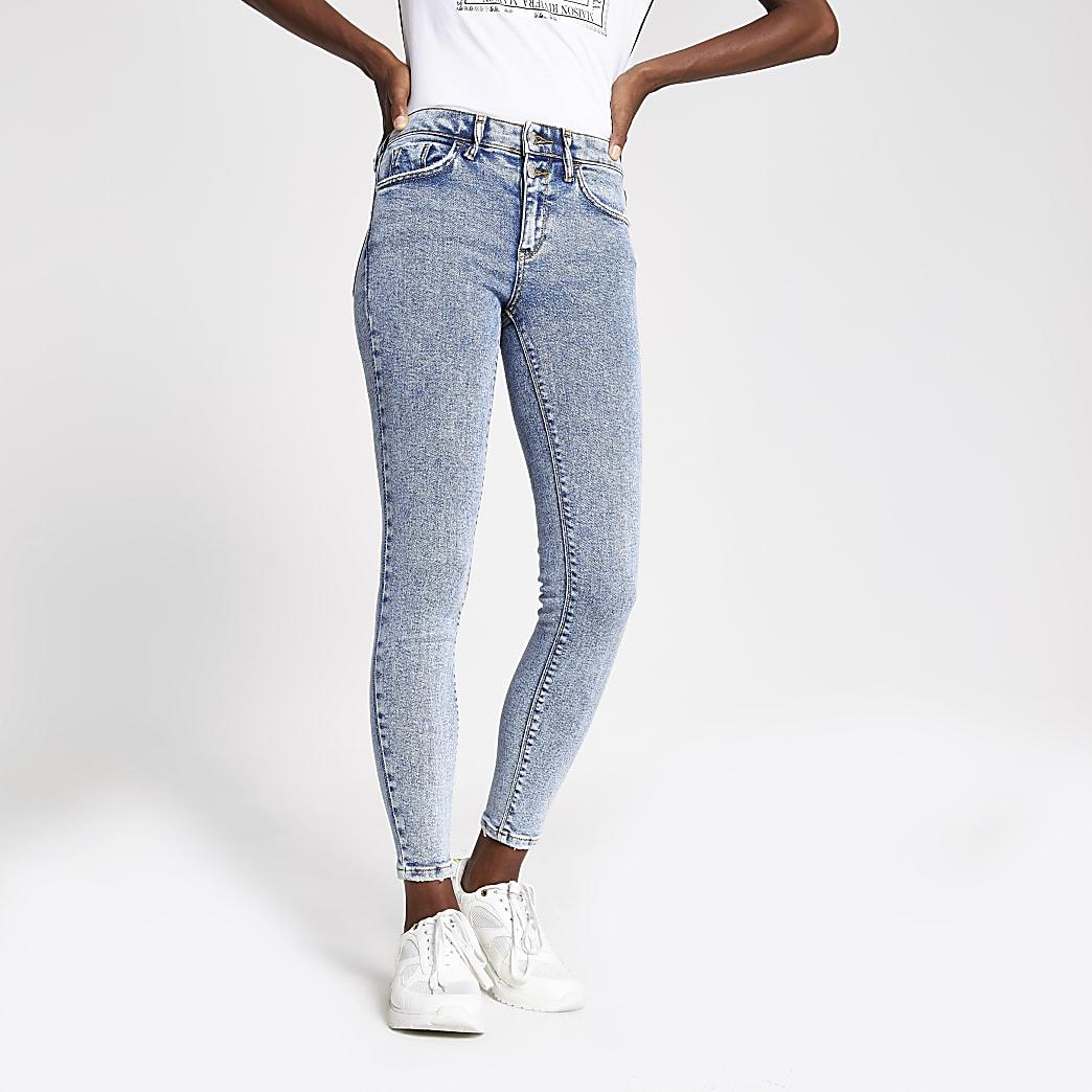 Amelie – Jean super skinny bleu délavé à l'acide