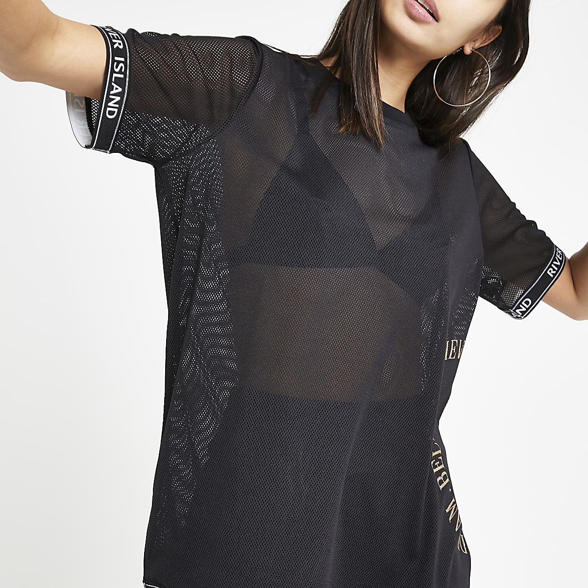 Black mesh loose fit T-shirt