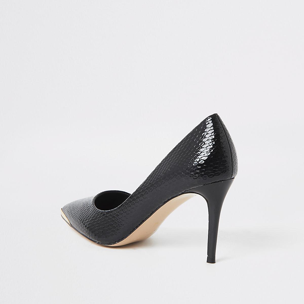 80780884360 Black point toe croc mid heel court shoes