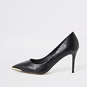 Black point toe croc mid heel court shoes
