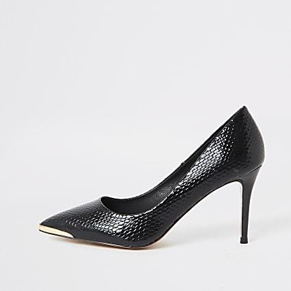 Black point toe croc mid heel court shoes