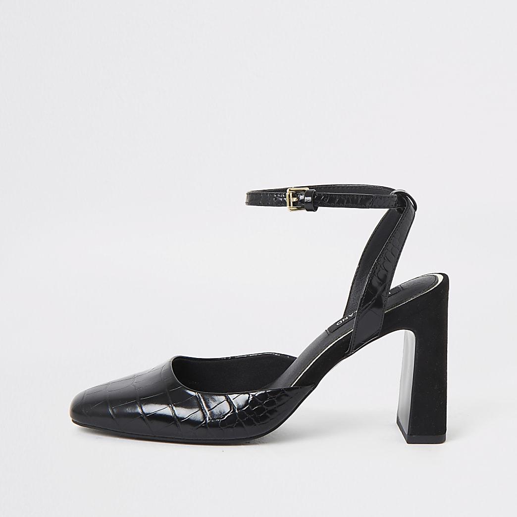 Black square toe croc heeled court shoe