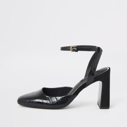 Black square toe croc heeled court shoe