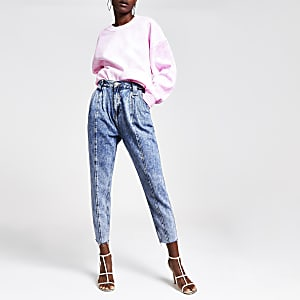 Mid blue acid barrel jeans