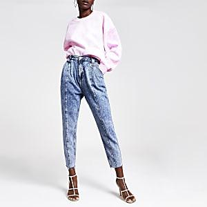 Middenblauwe acid jeans met rechte pijpen