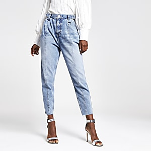 Mid blue barrel leg jeans