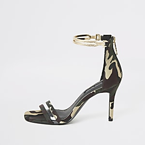 Green camo high heel gold ankle cuff sandal
