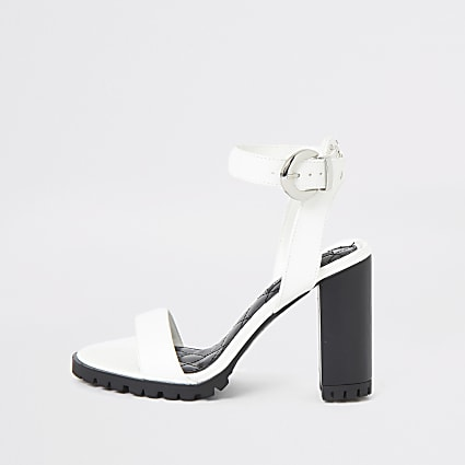 White cleated sole heeled sandal