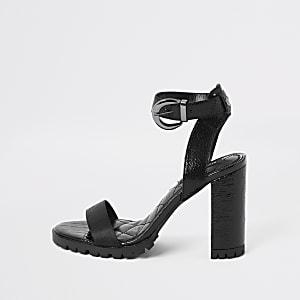 Black cleated sole heeled sandal
