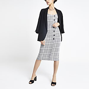 Grey check midi pinafore dress