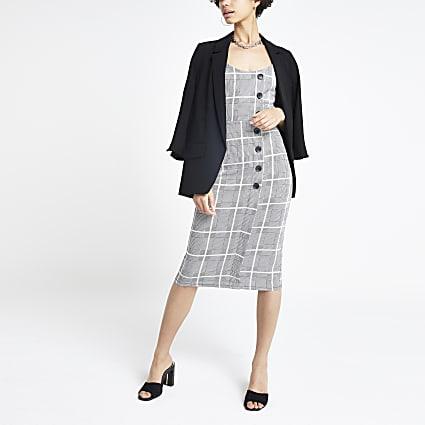 Grey check midi pinafore dress