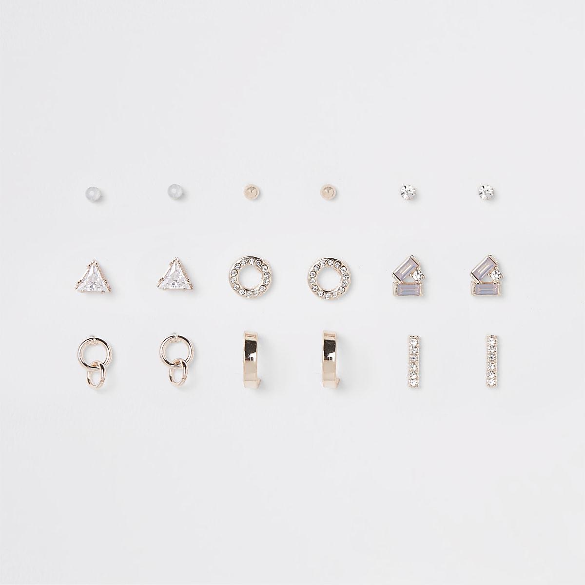 Lot de clous d'oreilles façon or rose avec opale