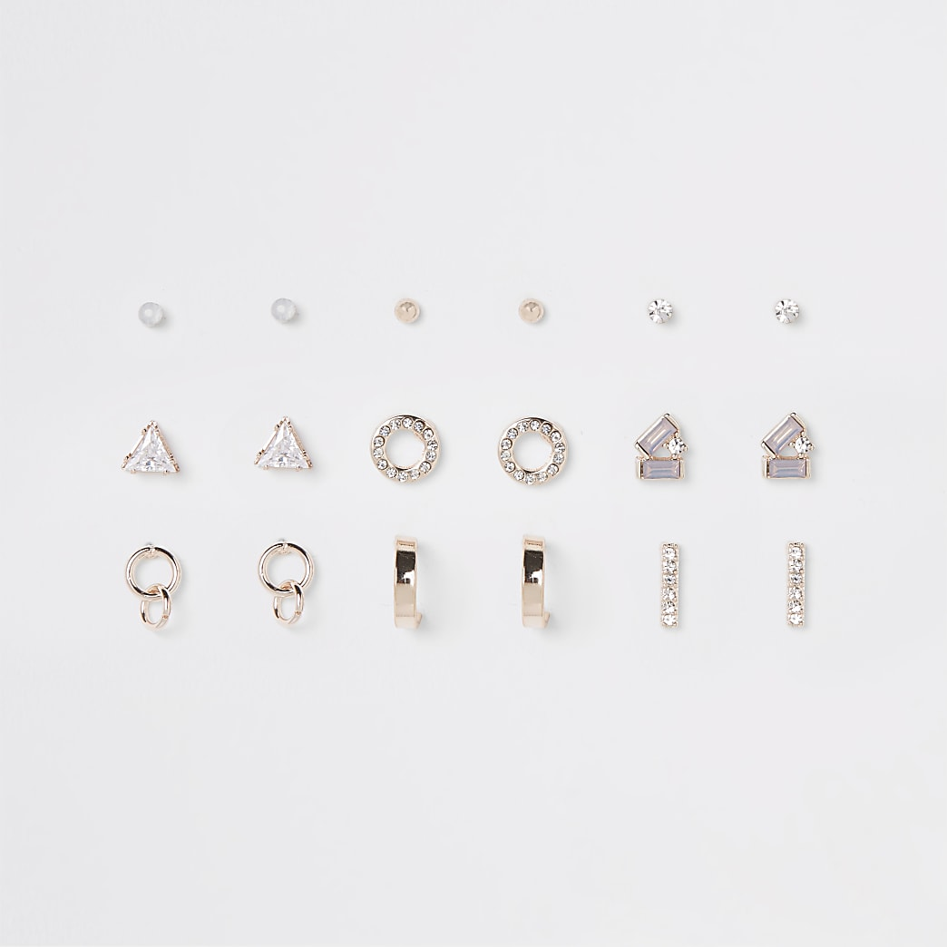 Rose gold tone opal stud earrings pack