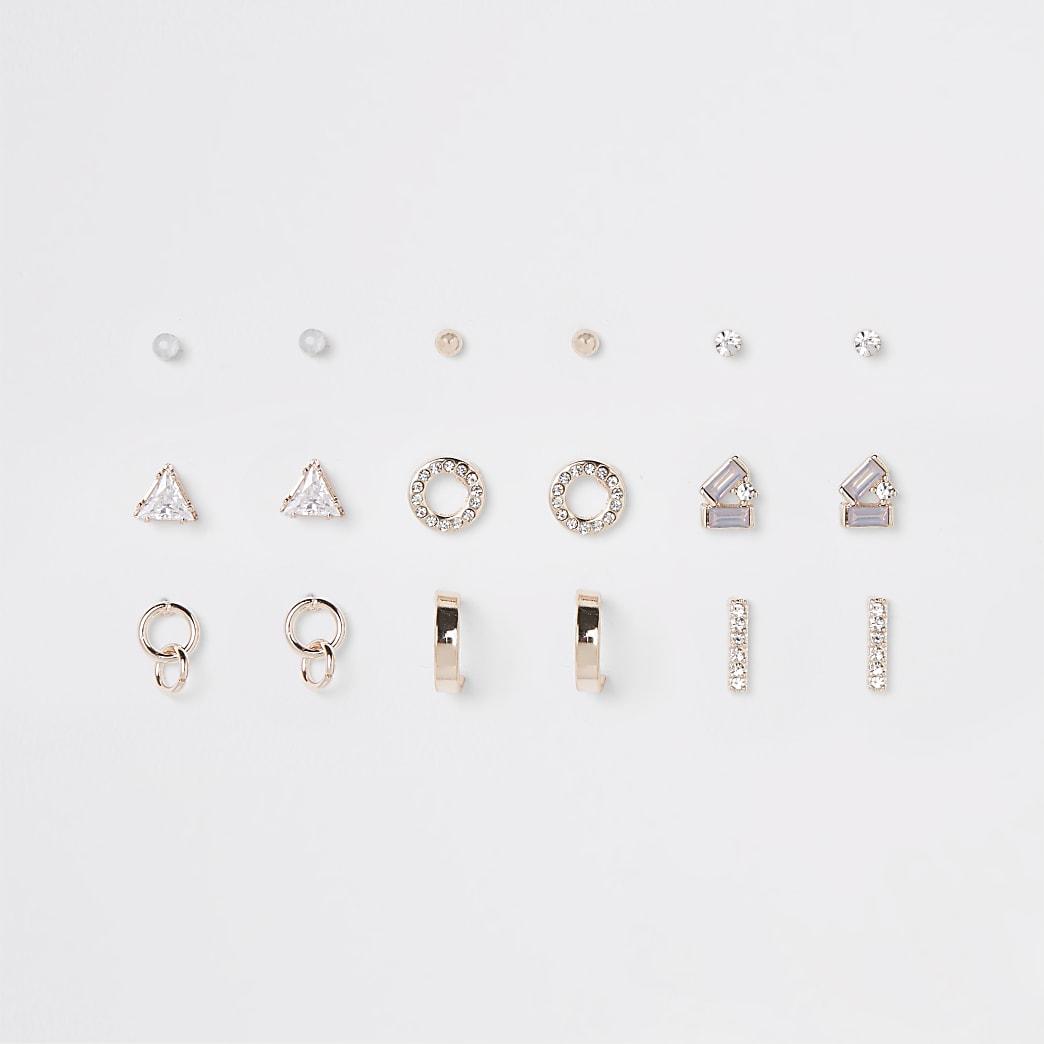 Lot de clous d'oreilles or rose avec opale