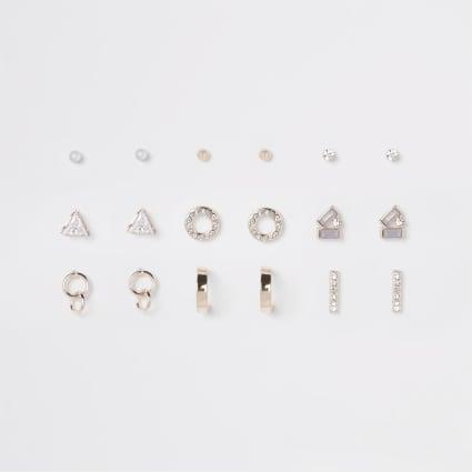 Rose gold tone opal stud earrings pack